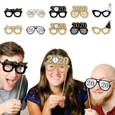 New Year's Eve Glasses - Gold - 2020 Paper Card Stock New Year's Party Photo Booth Props Kit - 10