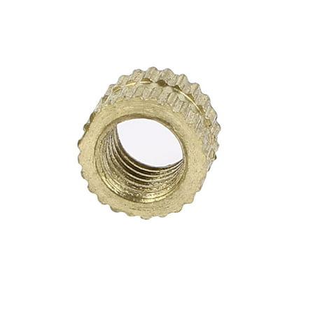 M5x 5mm x 7.3mm Cylindre en laiton moleté Insert fileté intégré 200écrous - image 3 de 3