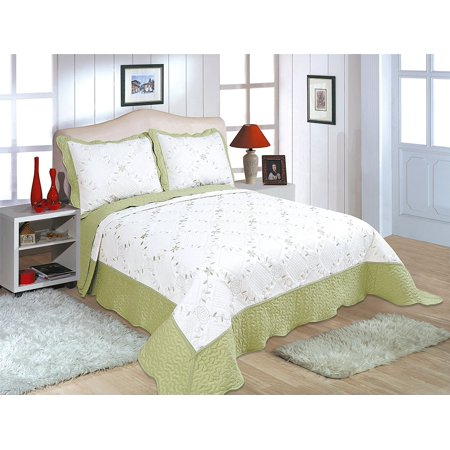 "All for You 3pc Reversible Quilt Set, Bedspread, and Coverlet-3 different sizes-Sage and Cream White color ( full/queen 86""x 86"" with standard pillow shams)"