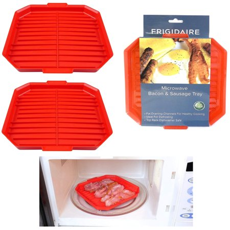 2 X Microwave Oven Bacon Rack Cooker Tray Cook Crisp