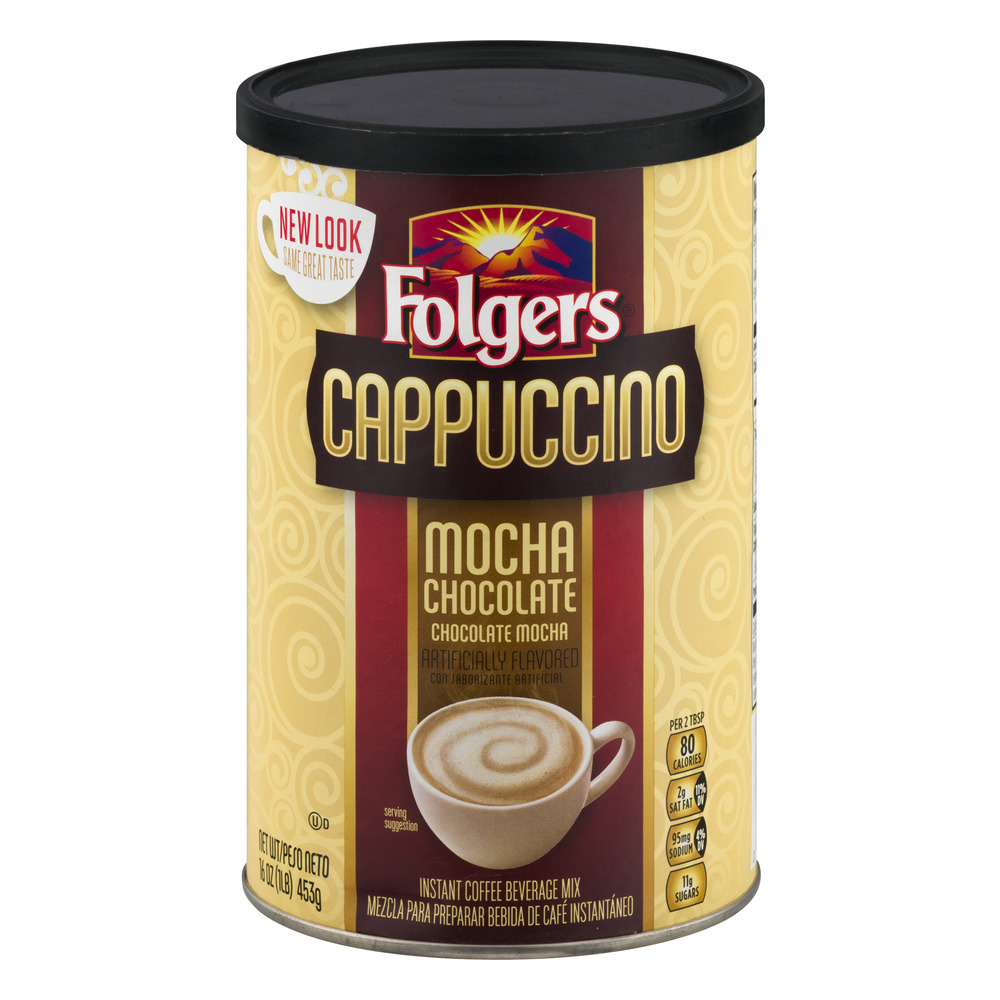 Folgers Cappuccino Mocha Chocolate Instant Coffee Beverage Mix, 16.0 OZ
