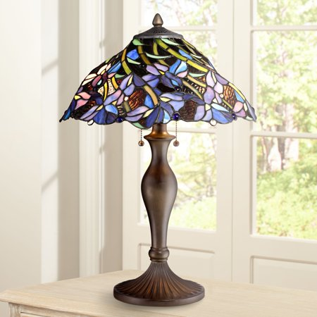 Stained Glass Table Lamp (Robert Louis Tiffany Traditional Table Lamp Vintage Bronze Metal Floral Swirl Stained Art Glass for Living Room Family)