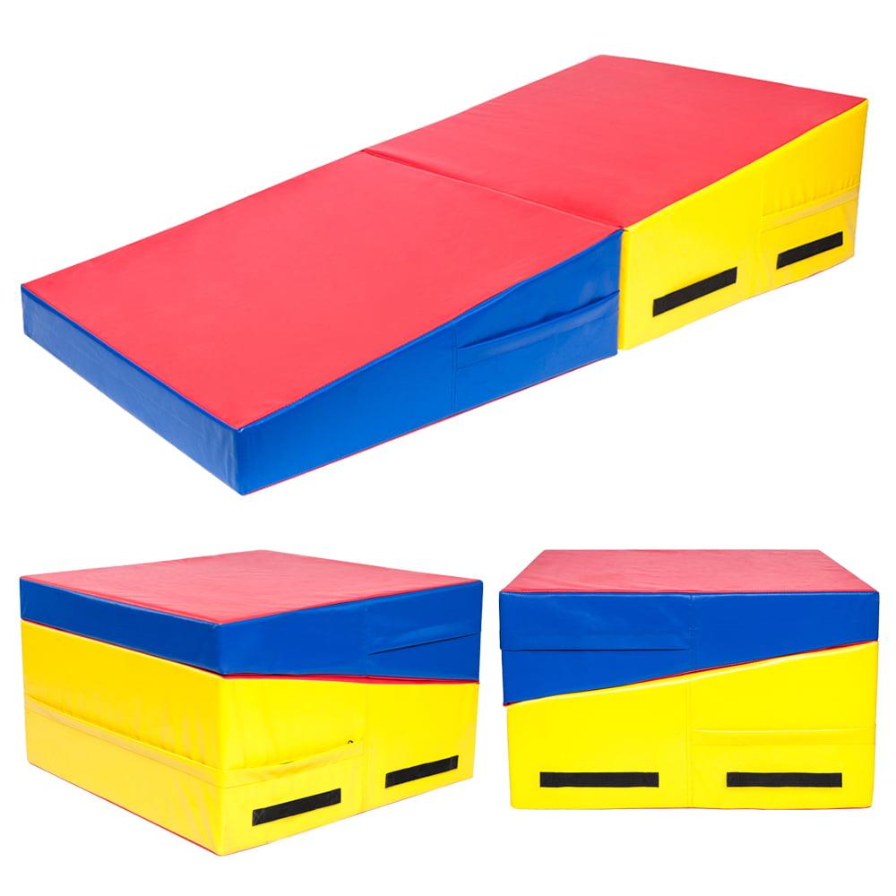 "60""x30""x14"" Trapezoid Gymnastics Mat Red & Yellow & Blue"