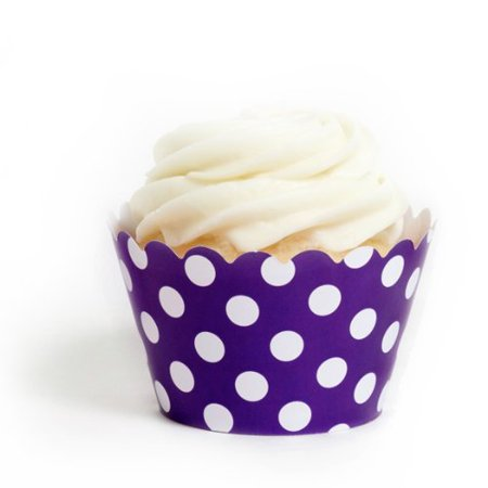Dress My Cupcake Royal Purple Polka Dot Cupcake Wrappers, Set of 12 - Polka Dots Cupcakes