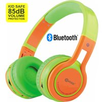 Contixo Kid Safe 85db On Ear Foldable Wireless Bluetooth Headphone w/ Volume Limiter, Built-in Micro Phone, Micro SD card Music Player, FM Stereo Radio, Audio Input & Output (Blue + Yellow)