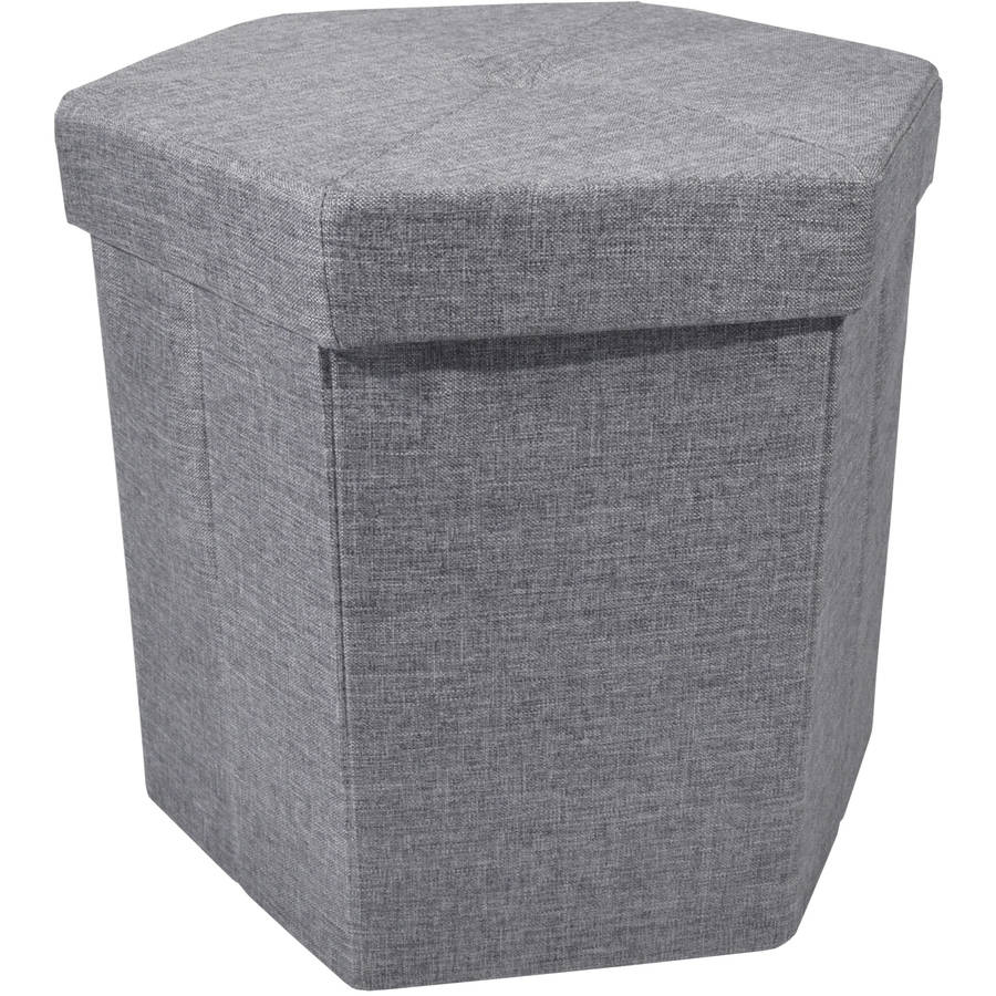 "Achim Collapsible Hexagon Storage Ottoman, Grey Linen, 15"" x 15"" x 15"""