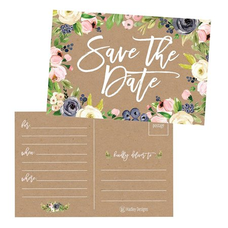Blank Invitations - 25 Rustic Floral Save The Date Cards For Wedding, Engagement, Anniversary, Baby Shower, Birthday Party, Kraft Flower Save The Dates Postcard Invitations, Simple Blank Event Announcements