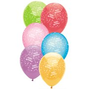 """Way to Celebrate Latex Balloons 12"""" Assorted Happy Birthday, 8 Count Bag"""