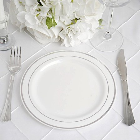 BalsaCircle 10 pcs Disposable Plastic Round Plates with Trim for Wedding Reception Party Buffet Catering Tableware (Alphabet Party Plates)