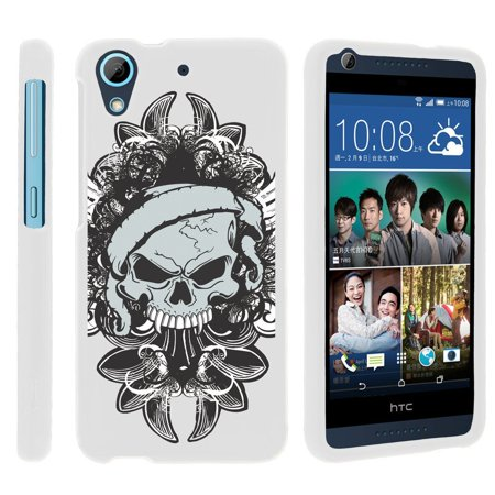 Htc Desire 626  626S   Snap Shell  White  2 Piece Snap On Rubberized Hard White Plastic Cell Phone Case With Exclusive Art    Demon Skull