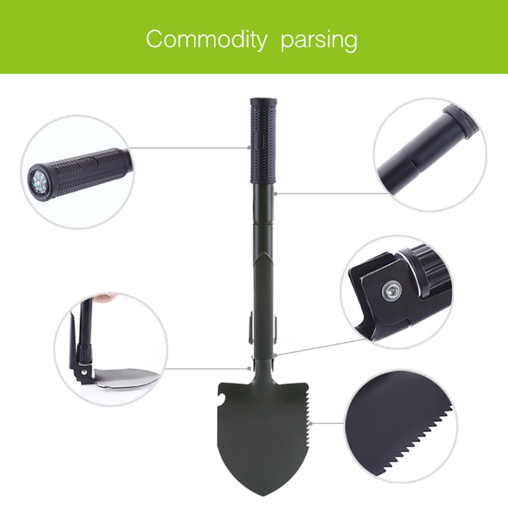 Military Folding Shovel Survival Spade Multifunctional Portable Foldable Trowel Dibble Pick Emergency Garden Camping Shovel by