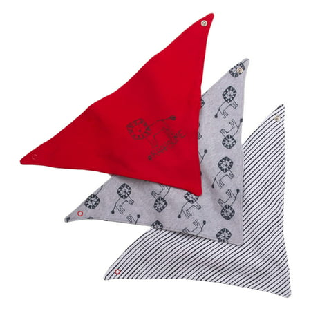 Red Infant Snap Bibs (Little Star Organic Newborn Baby Boy Bandana Bibs, 3-pack)