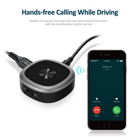 Bluetooth 4.1 Transmitter And Receiver, 3.5mm Wireless Audio Adapter with APT-X Low Latency And Multi-Point Access for TV / Home Sound System - image 6 de 8