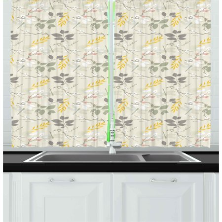 Grey and yellow curtains 2 panels set vintage farm life - Grey and yellow living room curtains ...