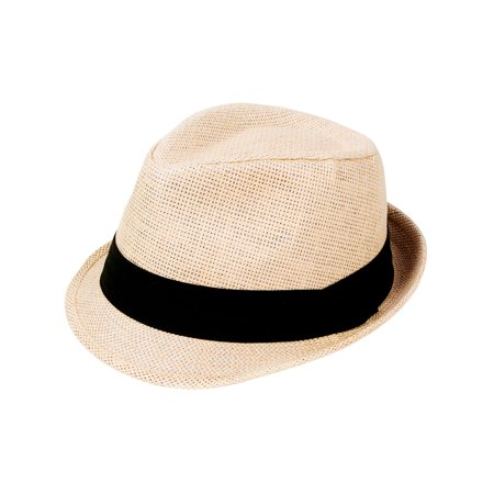 Classic Natural Fedora Straw Hat, Black Band Available, LXL