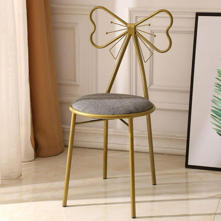 Ktaxon Retro Vanity Stool, Makeup Bench Dressing Stool Butterfly-Shaped Backrest Wrought Iron Leather Gold Finish Gray Seat ()
