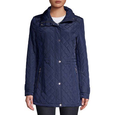 Front-Zip Quilted Jacket Anne Klein Womens Trench Coat
