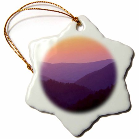 3dRose Morton Overlook, Great Smoky Mountains, Tennessee - US43 AJE0185 - Adam Jones, Snowflake Ornament, Porcelain, 3-inch