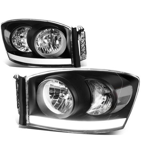For 2006 to 2009 Dodge Ram 1500 / 2500 LED DRL Light Bar Headlights Black Housing Clear Corner Headlamp 07 08 Left+Right