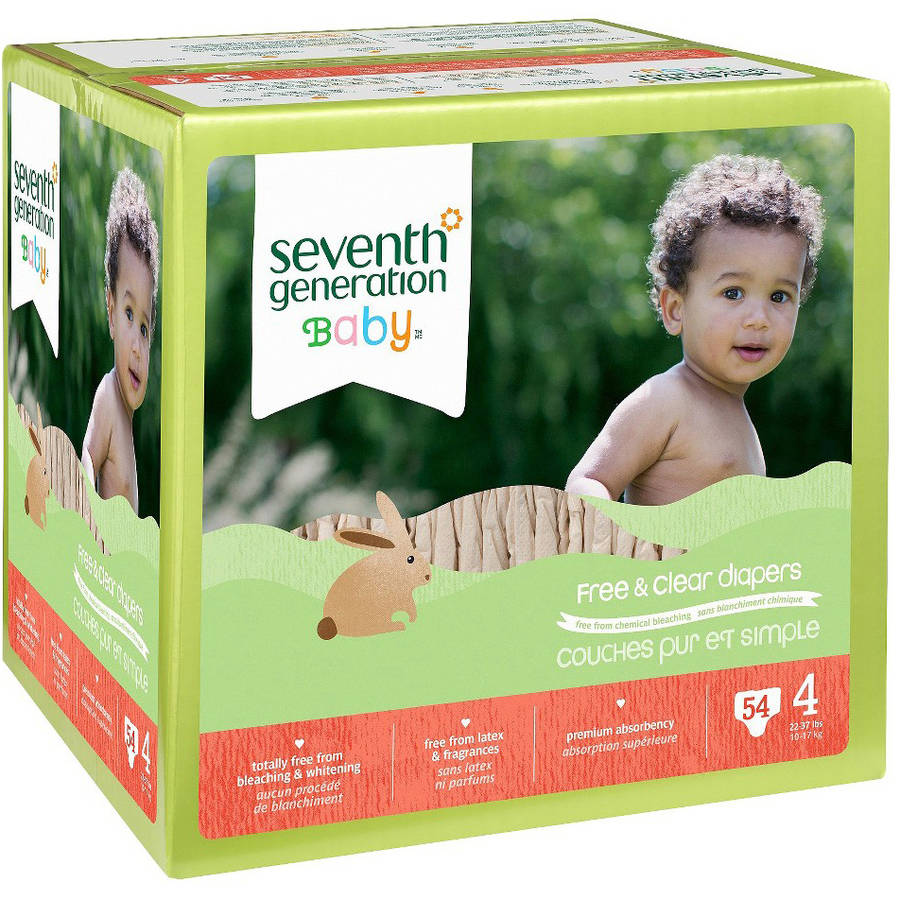Seventh Generation Baby Free & Clear Diapers, Size 4 (Choose Diaper Count)