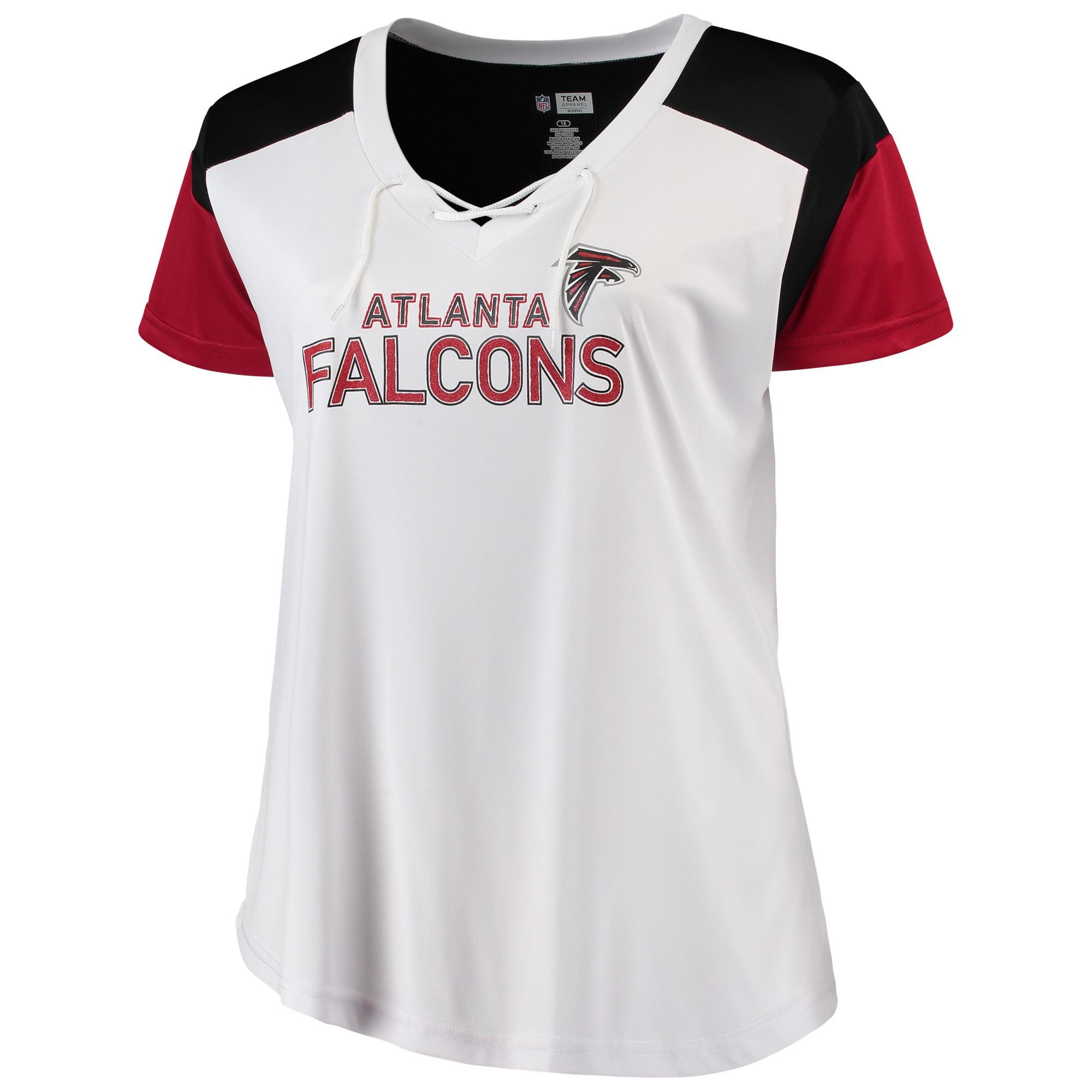 Women's Majestic White/Red Atlanta Falcons Lace-Up V-Neck T-Shirt