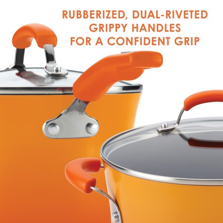 Rachael Ray 3-Quart Classic Brights Hard Enamel Nonstick Saucepot and Steamer Insert Set with Lid, Two-Tone Orange