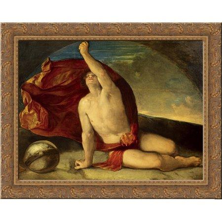 Sapiente Con Compasso E Globo 24X20 Gold Ornate Wood Framed Canvas Art By Dosso Dossi