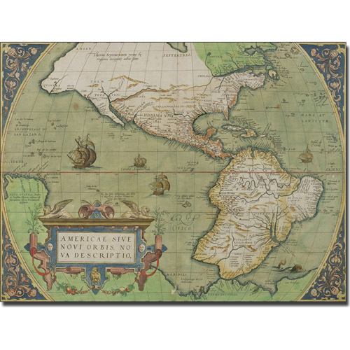 Trademark Art 'Map of North and South America, 1570' Canvas Art