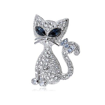 Swarovski Crystal Elements Cat Eye Siamese Kitty Cat Bow Tail Fashion Pin Brooch