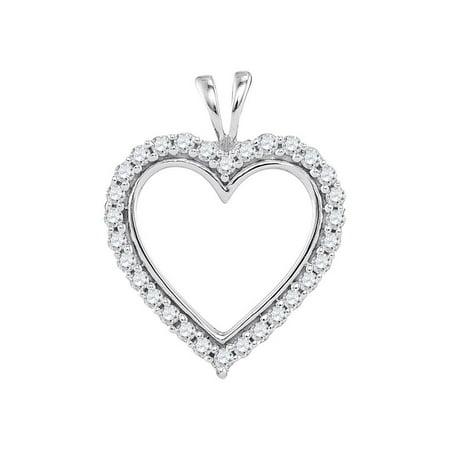 10kt White Gold Womens Round Diamond Heart Outline Pendant 1/4 Cttw
