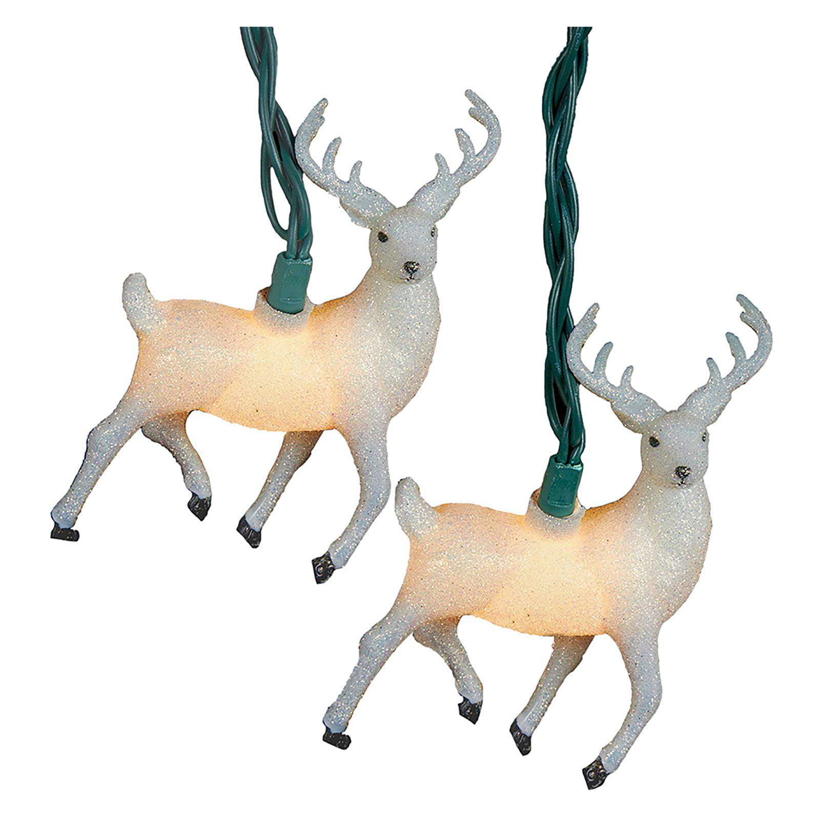 Kurt Adler UL 10 Light White Glitter Reindeer Light Set