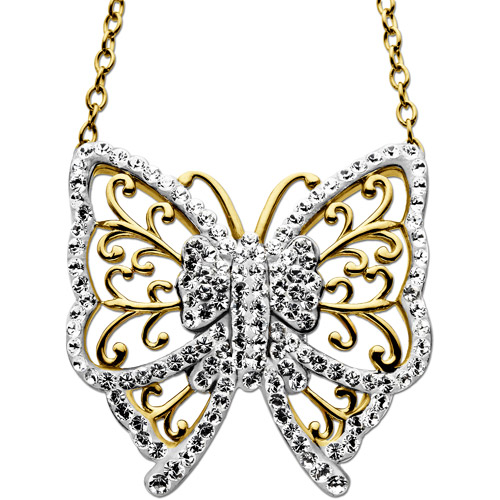 Luminesse 18kt Gold over Sterling Silver Butterfly Necklace made with Swarovski Elements, 18""