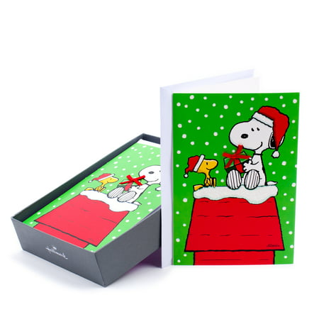 Hallmark Peanuts Christmas Boxed Cards, Snoopy (16 Cards and 17 Envelopes) - Snoopy Peanuts