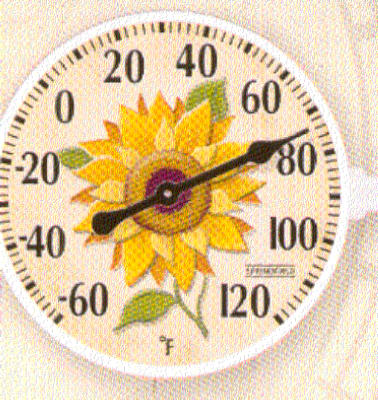 "6"" Sunflower Outdoor Thermometer, Taylor Precision, 90176 by Taylor Precision Products"