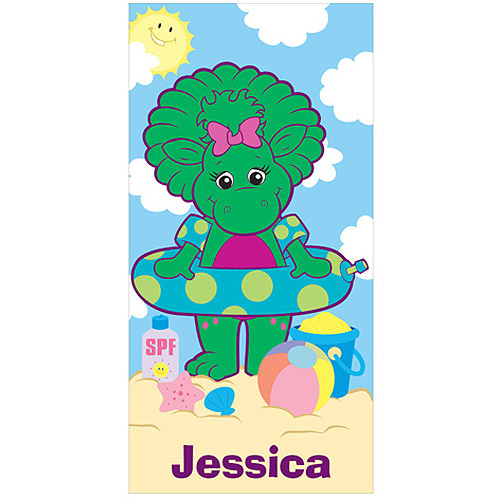 Personalized Barney Baby Bop Beach Towel