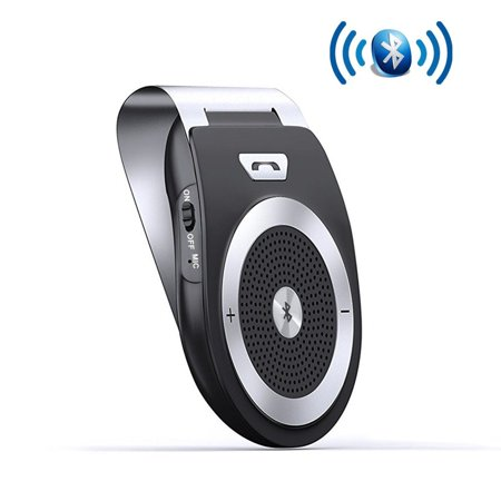 Hands Free Emergency Speakerphone - Bluetooth Car Kit Speakerphone Wireless AUTO POWER ON Handsfree Visor Speaker, HD Audio Adapter for Hands-Free Calling Music GPS Navigation