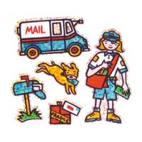 Bulk Roll Prismatic Stickers, Mini Postal Worker (100 Repeats)