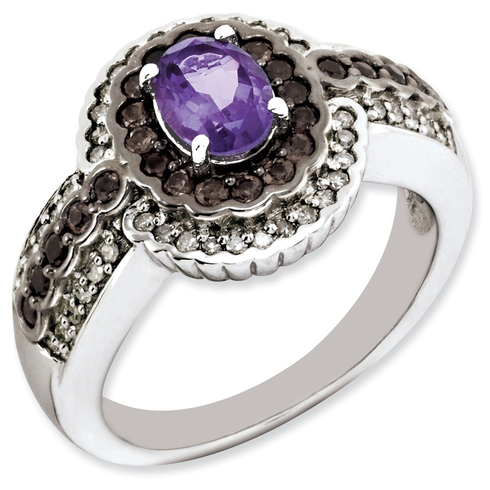 Sterling Silver Amethyst and Smokey Quartz & Diamond Ring by Dazyle