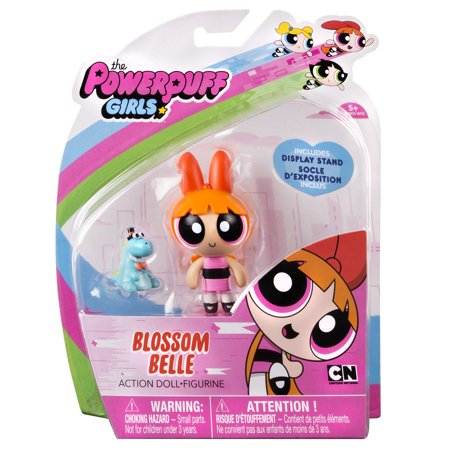 Powerpuff Girls Diy (The Powerpuff Girls, 2 Inch Action Doll with Stand, Blossom with Pet Dinosaur, by Spin)