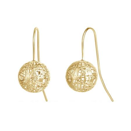 10kt Yellow Gold 3D Print Ball Eurowire Earrings