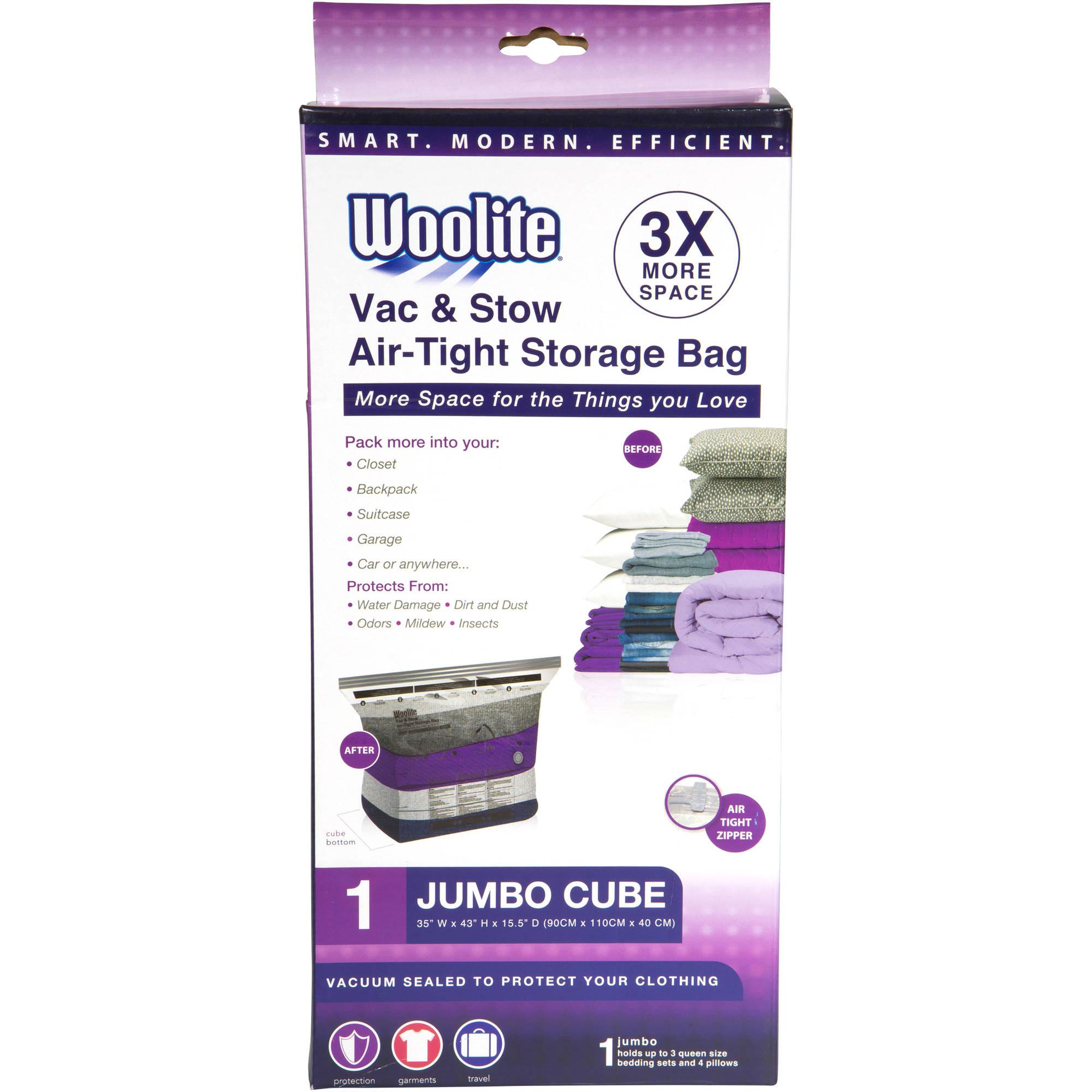 "Woolite 1-Piece Cube Jumbo Vacuum Storage Bag, 35"" x 43"" x 15.5"""