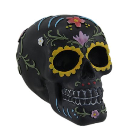 Hand Painted Black Day of the Dead Sugar Skull - Hand Painted Block