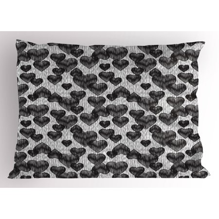 Gothic Tattoos (Romantic Pillow Sham Gothic Hearts Tattoo Style Valentine's Love Graffiti Grunge Illustration, Decorative Standard Size Printed Pillowcase, 26 X 20 Inches, Pale Grey Black, by)