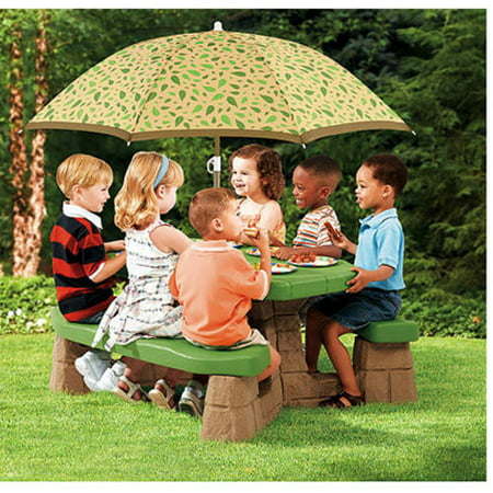 Step2 Naturally Playful Picnic Table with Umbrella, Stone and wood grain texture gives it a realistic feel