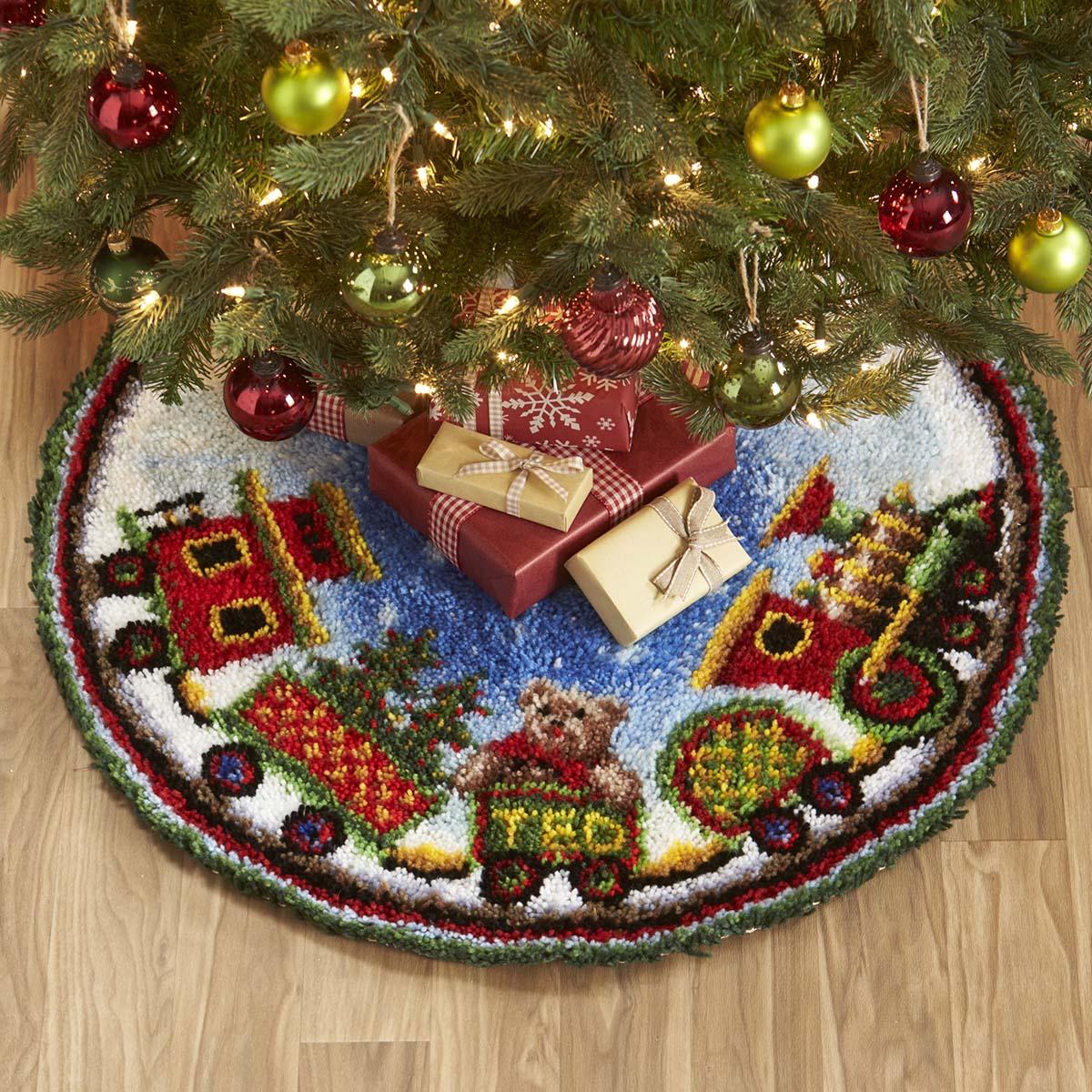 Herrschners® Holiday Train Tree Skirt Latch Hook Kit