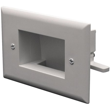 - Datacomm Electronics 45-0009-WH Easy-Mount Slim-Fit Recessed Low-Voltage Cable Plate, White