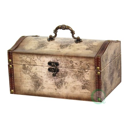 Old World Map Leather Vintage Style Treasure Box - Vintage Boxes