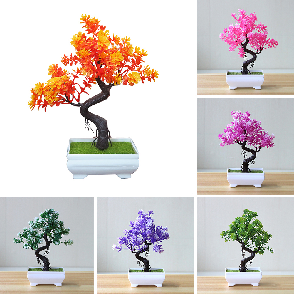 HiCoup Artificial Potted Tree Bonsai Simulation Plant Home Decor Table Centerpieces