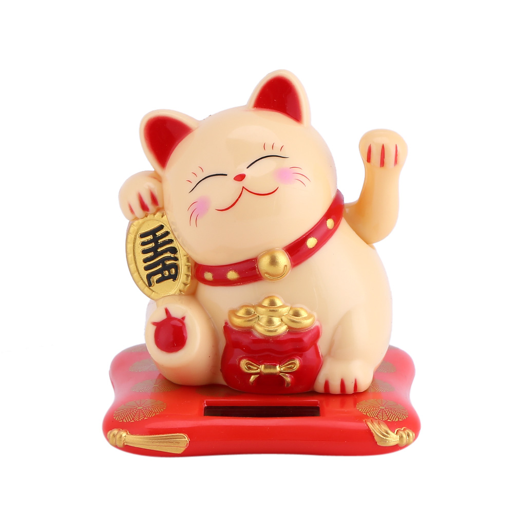 Aramox Solar Powered Cute Waving Cat Good Luck Wealth Welcoming Cats Home Display Car Decor, Waving Cat Decor, Solar Luck Cat