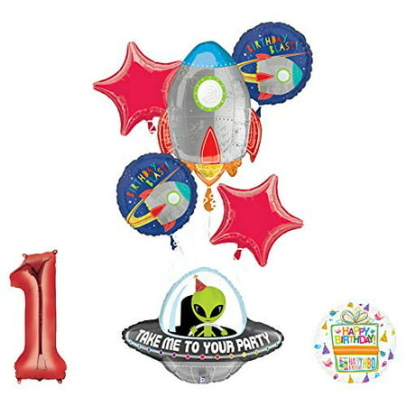 Mayflower Products Blast Off Space Alien 1st Birthday Party Supplies Balloon Bouquet Decoration](Space Theme Decorations)